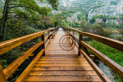 Fototapeta Drewniany most w Parku Narodowym Krka, Chorwacja