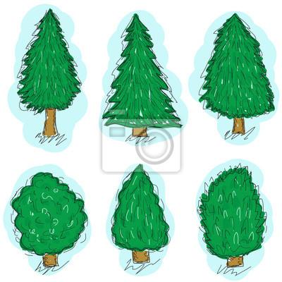 Drzewa Zestaw Szkic Rysunek Dłoni Stylu Doodle Drzewa Choinka