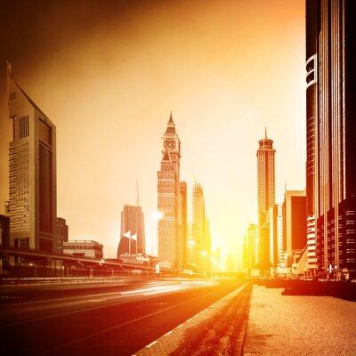 Fototapeta Dubai city w zachodzie słońca