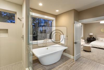 Fototapeta Duża łazienka Urządzone W Luksusowym Domu Z Posadzek Prysznicem