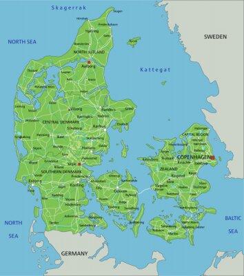 Duza Szczegolowa Mapa Fizyczna Danii Z Etykietowaniem Fototapeta