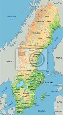 Duza Szczegolowa Mapa Fizyczna Szwecji Z Etykietowaniem