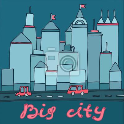 Fototapeta duże miasto, wieżowce samochody kreskówki
