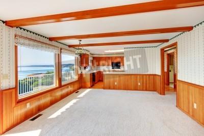 Fototapeta Duży Salon Z Kuchnią Z Wykończeniami Z Drewna I Dwa Duże Okna
