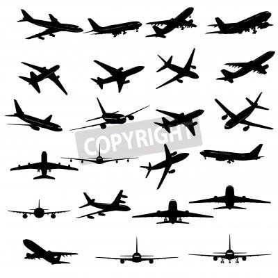 Fototapeta Duży zbiór silhouettes inny samolot.