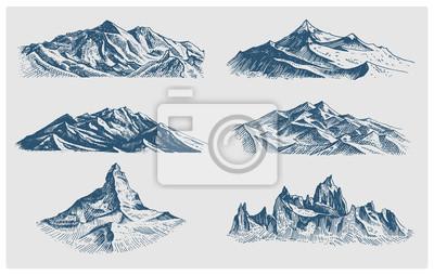 Fototapeta Duży zestaw gór szczyty, rocznika, wyciągnąć stare wyglądające strony, szkic lub wygrawerowany styl, różne wersje wędrówki, wspinaczki.