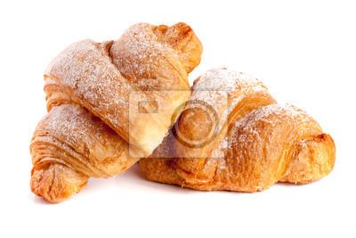 Fototapeta Dwa rogalik posypane cukrem pudrem na białym tle zbliżenie