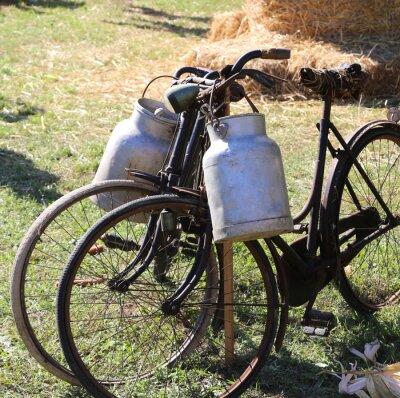 Fototapeta dwa starożytne zardzewiałe rowery do transportu mleka do kosza