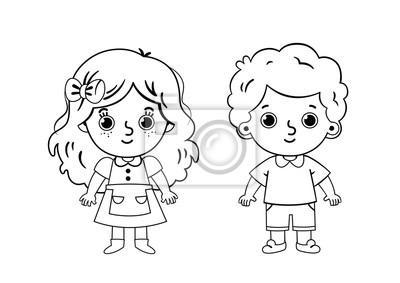 Dwie Dzieci Kolorowanka Ilustracja Wektorowa Dla Dzieci I