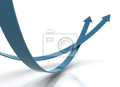 Fototapeta Dwie niebieskie strzałki - koncepcja konkurencji