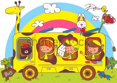 Fototapeta Dzieci w autobusach szkolnych