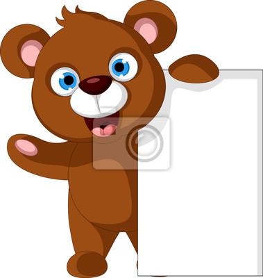 Fototapeta dziecko brązowy cartoon niedźwiedź stwarzających z pustym znakiem