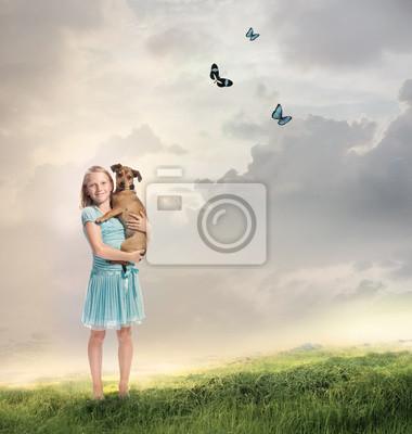 Fototapeta Dziewczynka z psem
