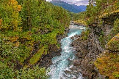 Fototapeta Dziki górskiej rzeki pomiędzy stromymi skałami