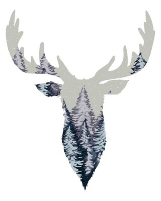 Fototapeta Dzikie Deer Head Silhouette