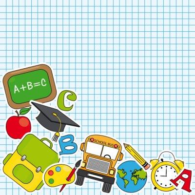 Fototapeta Edukacja i szkoła zestaw ikon. Miejsce na tekst