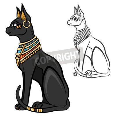Egipt Kot Bogini Bastet Egipski Bóg Starożytny Figurka Posiedzenia