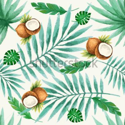 Fototapeta Egzotycznych owoc bezszwowy wzór, akwarela, wektorowa ilustracja.