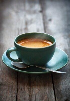 Fototapeta Ekspres do kawy w filiżance zielonej, selektywnym focus