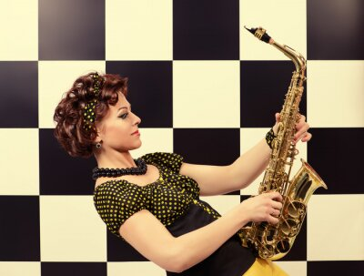 Fototapeta ekspresyjne saksofonista