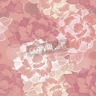 Fototapeta elegant peony seamless floral pattern background over pink