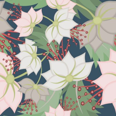 Fototapeta Elegant vector seamless pattern with lotus flowers. Vintage floral romantic texture. Abstract botanical ornament, natural wallpapers in Asian style. Repeat background design for tileable print, fabric