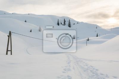 Fototapeta Elektryczna linia przekraczania ścieżki w śniegu