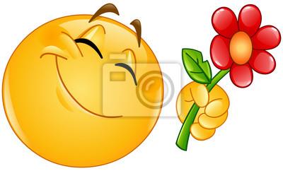 Emotikon dając kwiat Fototapeta • Fototapety dzień, kwiatowy, flirt |  myloview.pl