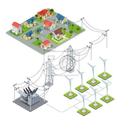 Energia Wiatrowa śmigła Green Village Infografiki Cyklu Zasilania