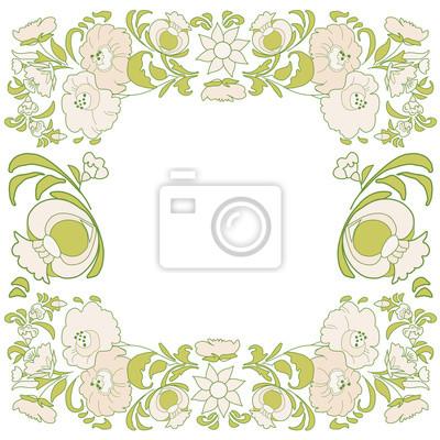 Fototapeta Etniczne Dekoracje Kwiatowe Folk Etniczne Motywy Card Egzotyczne