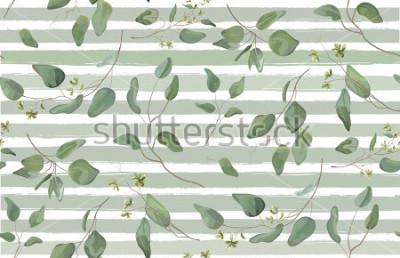 Fototapeta Eukaliptus różne drzewa, naturalne gałęzie liści z zielonych liści nasiona tropikalny wzór akwarela styl. Wektorowa dekoracyjna piękna elegancka ilustracyjna bława obdzierająca tło