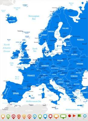 Fototapeta Europa - mapy i nawigacja icons.Highly Wektor szczegółowe illustration.Image kolejnych warstw: zawiera kontury ziemi, nazwy krajów i gruntów, nazwy miast, nazw obiektów, ikon nawigacyjnych wody.
