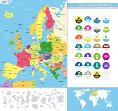 Fototapeta Europe detailed political map.Flat icon set