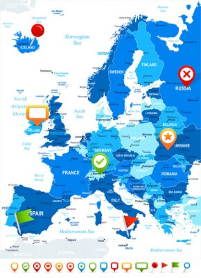 Fototapeta Europe - map and navigation icons - illustration.Image contains next layers: land contours, country and land names, city names,water object names, navigation icons.
