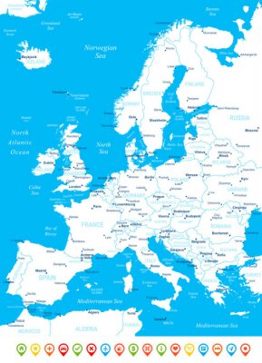 Fototapeta Europe - map, navigation icons - illustration.Image contains next layers: land contours,country and land names, city names, water object names, navigation icons.
