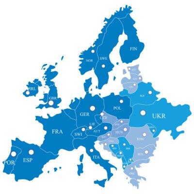 Fototapeta Europejska mapa z regionami na białym tle