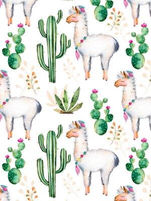 Fototapeta exture z wysokiej jakości ręcznie malowane akwarelą elementów do projektowania z kaktus roślin, kwiatów i lama.For unikatowy tworzenie, tapety, tło, blogów, wzór, zaproszenia i nie tylko
