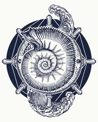 Fototapeta Fala Burzy Morskiej I Starożytne Amonity Tatuaż I T Shirt Projekt