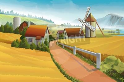 Fototapeta Farm krajobrazu wiejskiego tle