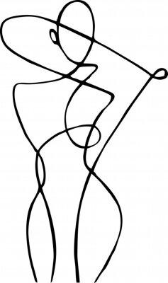 Fototapeta Female figure, drawn in one line