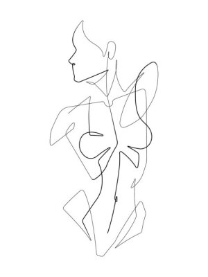 Fototapeta Female Figure One Continuous Line Vector Graphic Illustration