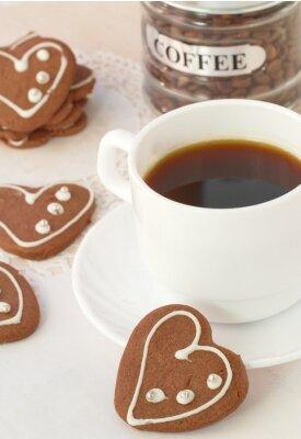 Fototapeta Filiżanka kawy i ciasteczka czekoladowe
