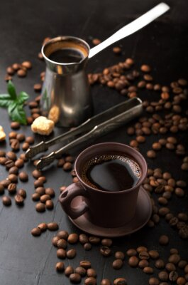 Fototapeta Filiżanka kawy i ziarna kawy