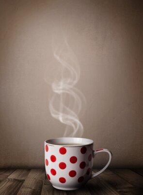 Fototapeta Filiżanka kawy z białej pary abstrakcyjnych