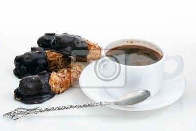 Fototapeta Filiżanka kawy z ciasto czekoladowe