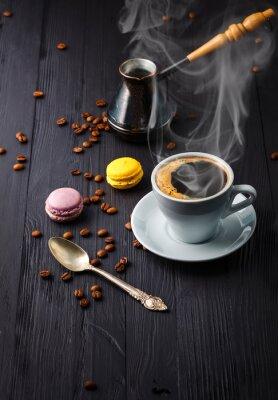 Fototapeta Filiżanka kawy z ziarna i cezve