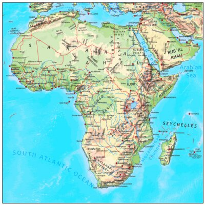 Fototapeta Fizyczne mapę kontynentu Afryki