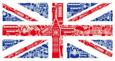 Fototapeta Flaga Anglii z symboli Wielkiej Brytanii i Londynie