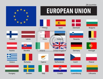 Fototapeta Flagi Unii Europejskiej i członkowie