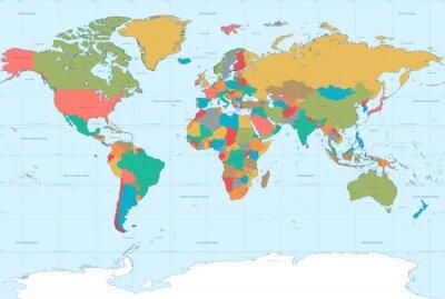 Fototapeta Flat Colors World Map